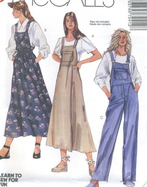 20c8ec2e9424 Misses Jumper Overalls Sewing Pattern Lined Bodice Suspenders ...
