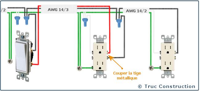 circuit de 120 volts 15 a une prise de courant fractionn e command par un interrupteur. Black Bedroom Furniture Sets. Home Design Ideas