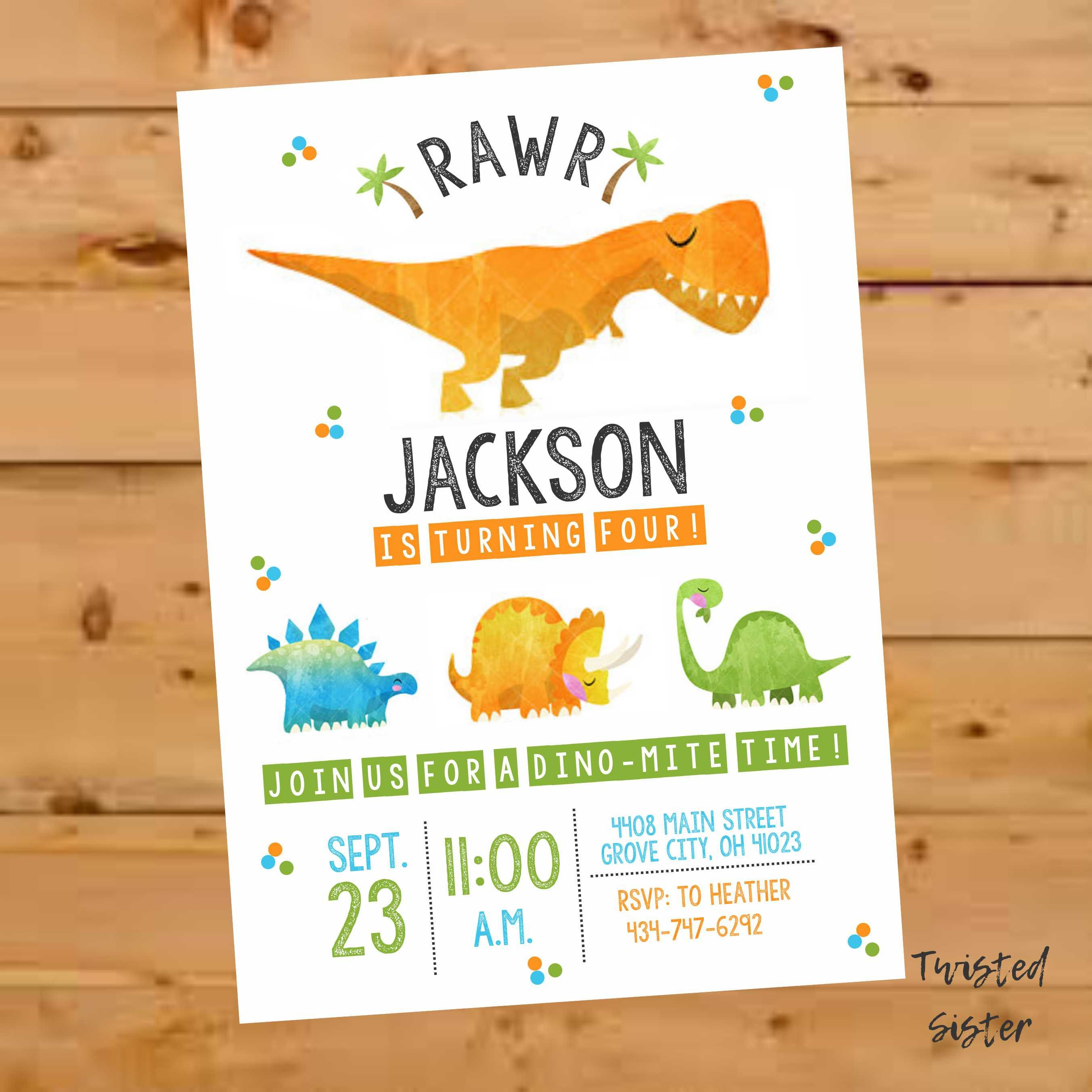 Dinosaur Birthday Invite Invitation Party T Rex Dino By