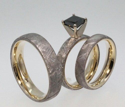 Beautiful Meteorite Rings with K Yellow Gold set with a Black Diamond His and Hers Wedding Set