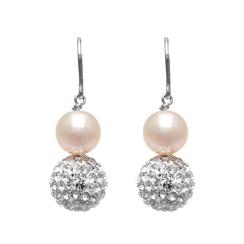 Exquisite drop earrings with freshwater pearl and pave crystal ball