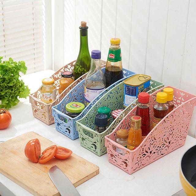 Plastic Storage Baskets For Organizing Cupboards Shelves Fridge Pantry Kitchen Storage Organization Diy Desktop Storage Storage Baskets