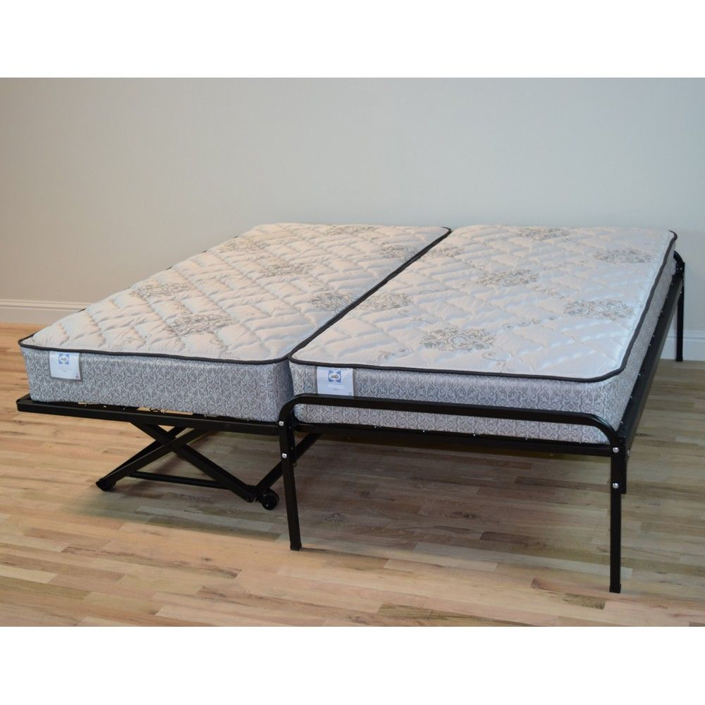 Best Duralink Metal Twin Pop Up Trundle Bed In Black By Humble 400 x 300