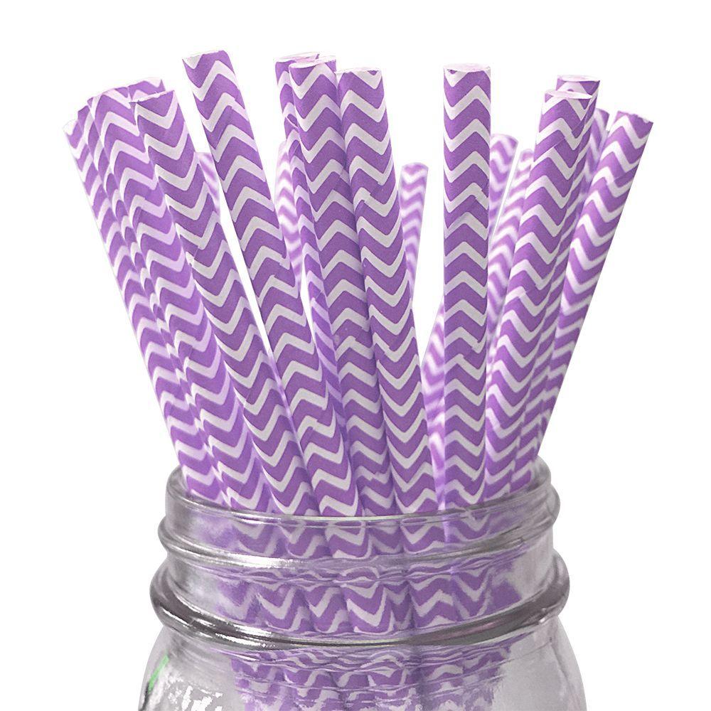 Purple Chevron Striped 25pc Paper Straws