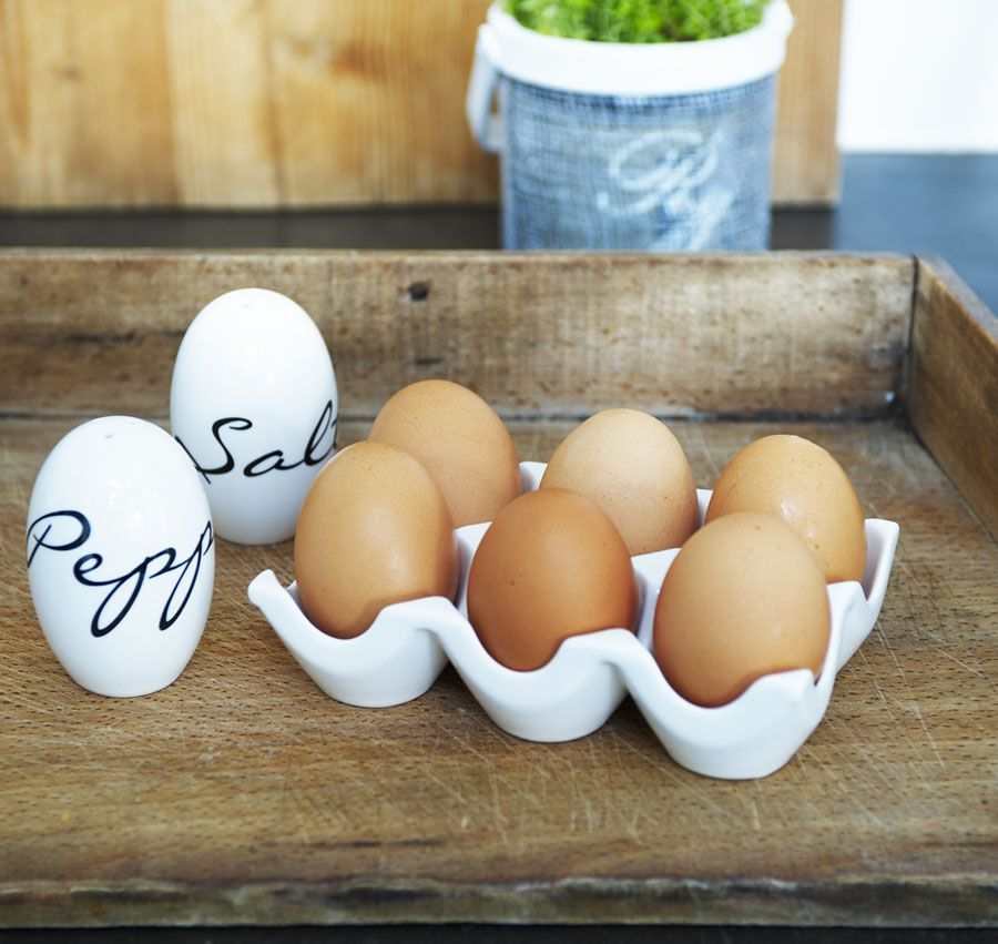egg salt and pepper shakers and egg holder.