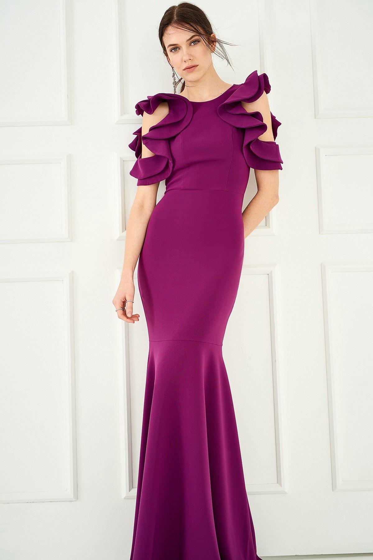 Trendyolmilla Siklamen Volanli Elbise Elbise Salvar