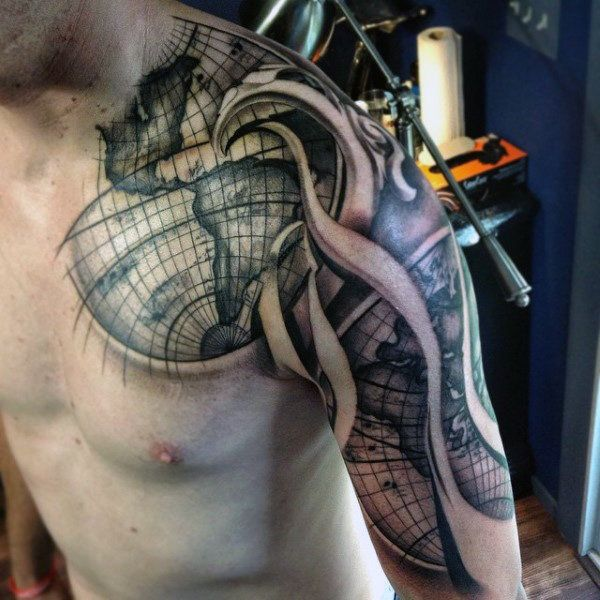50 world map tattoo designs for men adventure the globe shoulder sleeve world map guys tattoo gumiabroncs Image collections