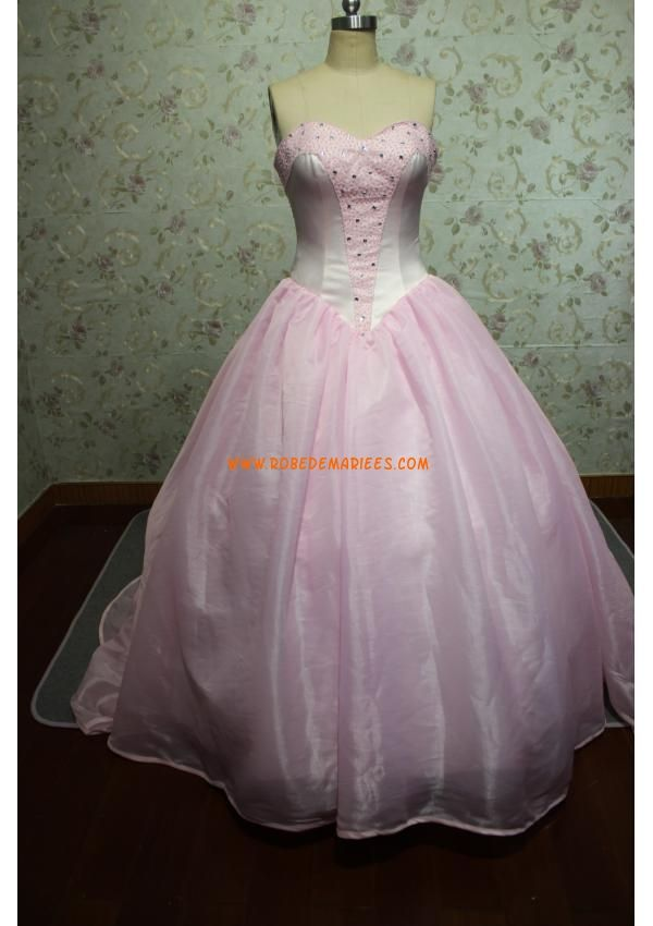Robe de mariée princesse satin organza perles