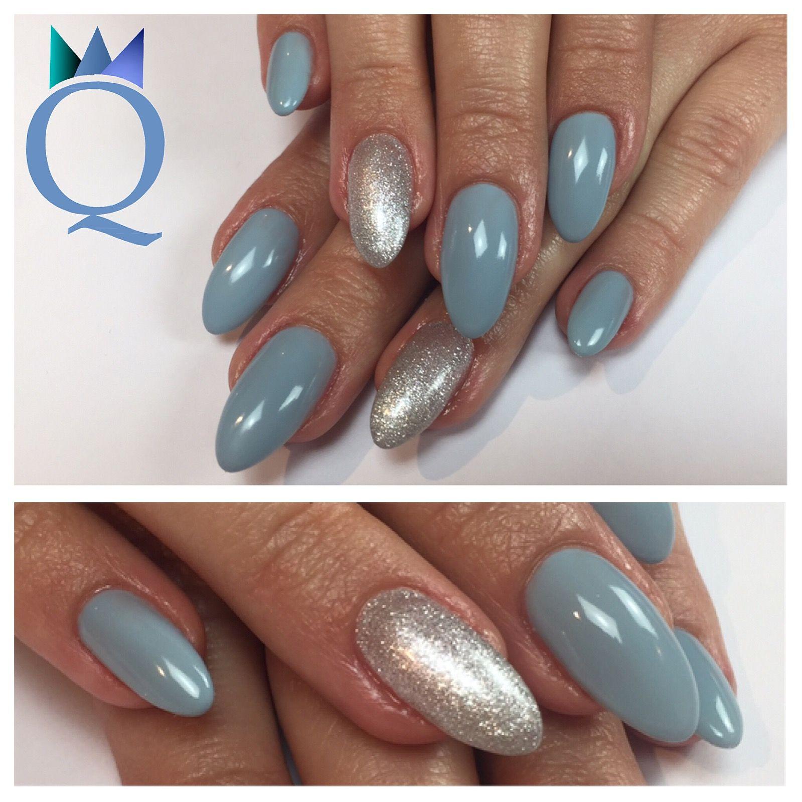 almondnails nails gelnails blue silver mandelform. Black Bedroom Furniture Sets. Home Design Ideas