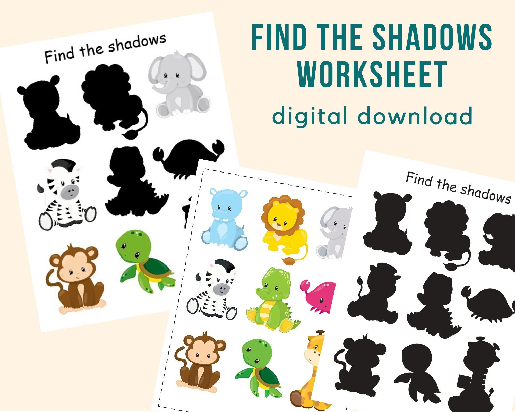 Find The Shadows Worksheet Toddler Busy Book Page