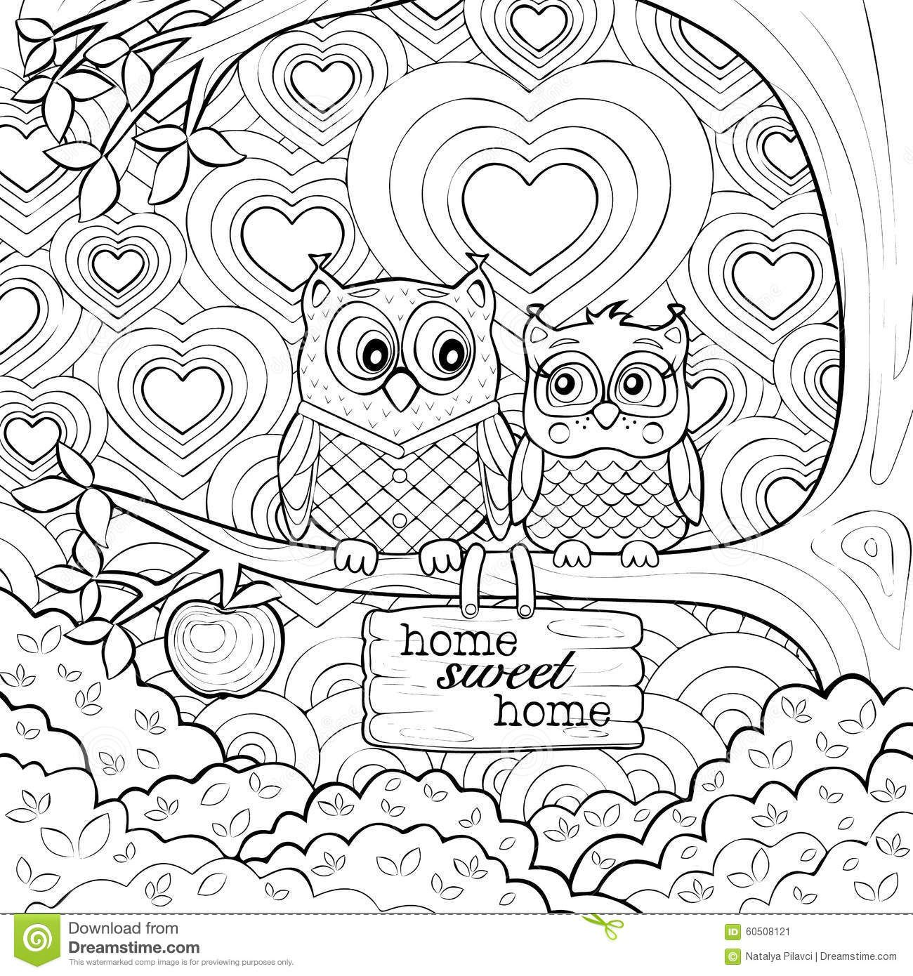 Cute Owls Art Therapy Coloring Page Owl Coloring Pages Art Therapy Coloring Book Mandala Coloring Pages