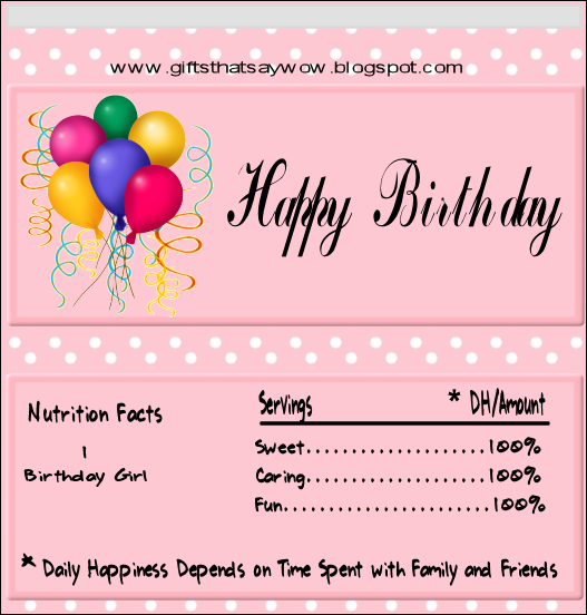 Happy Birthday Candy Wrapper Template | Gifts That Say WOW: Free ...