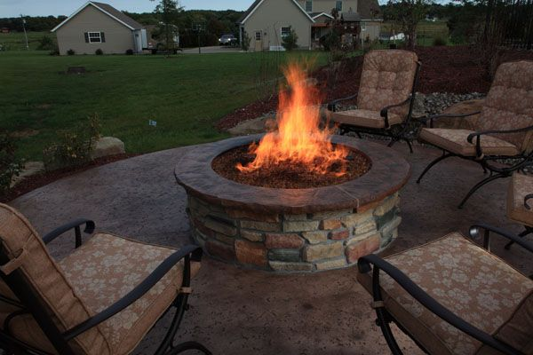 Gas Firepit With Custom Concrete Top Outdoor Fire Outdoor