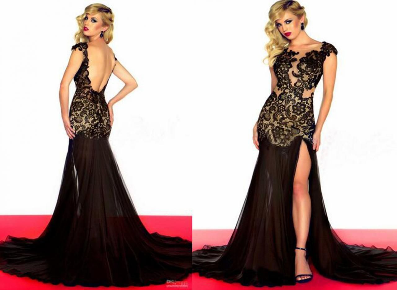 custom black lace chiffon prom dress sexy sleeveless backless