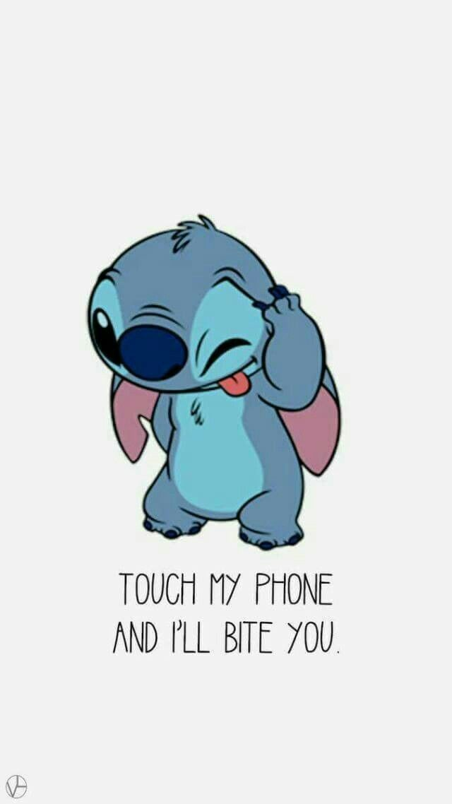 Stitch Touch My Phone Funny Iphone Wallpaper Disney Phone