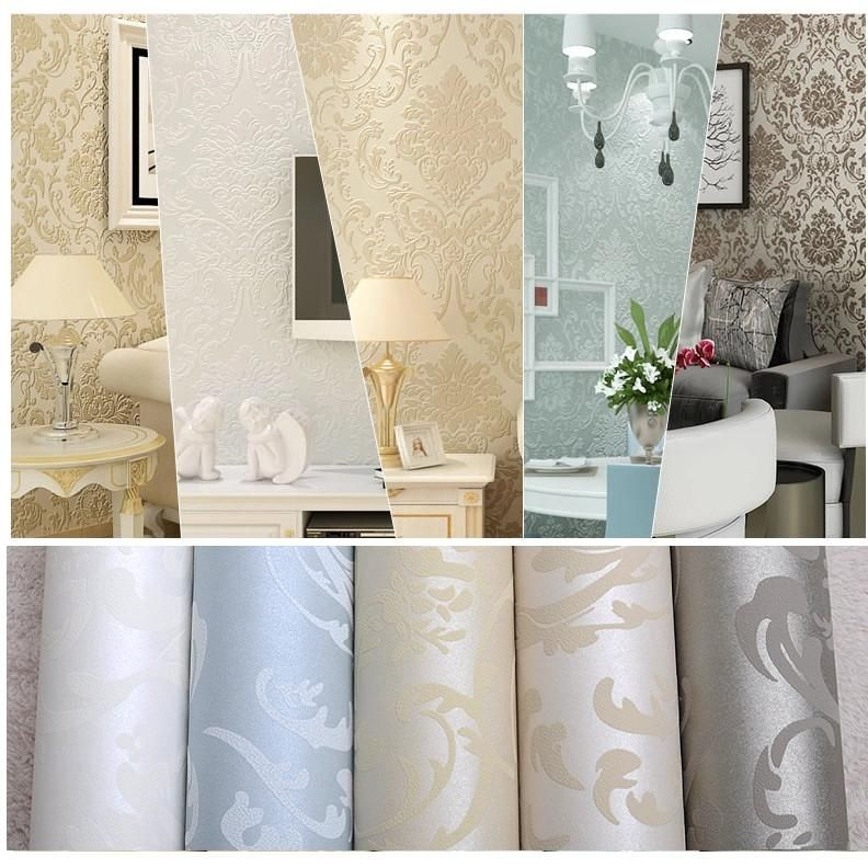 Luxury Flock Non Woven Glitter Metallic Classic Silver Damask Design Textured Vintage Wall Paper