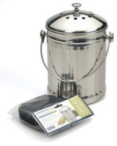 ecofriendly composting thatu0027s easy on the eyes this stainless steel food scrap container features two charcoal filters in the lid and a