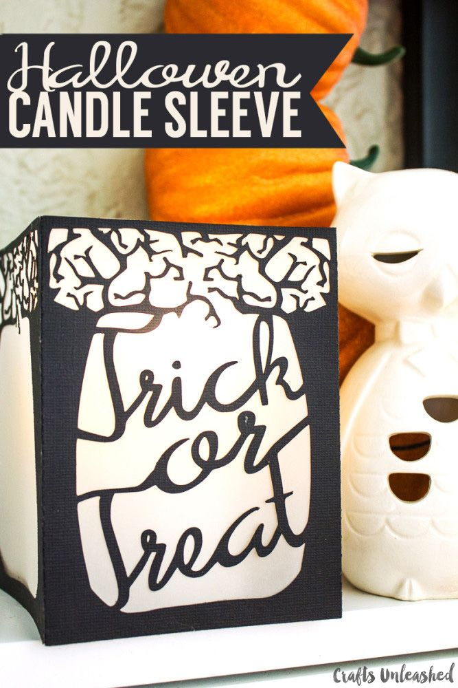 Halloween Decoration DIY Candle Sleeve - Crafts Unleashed - halloween crafts decorations