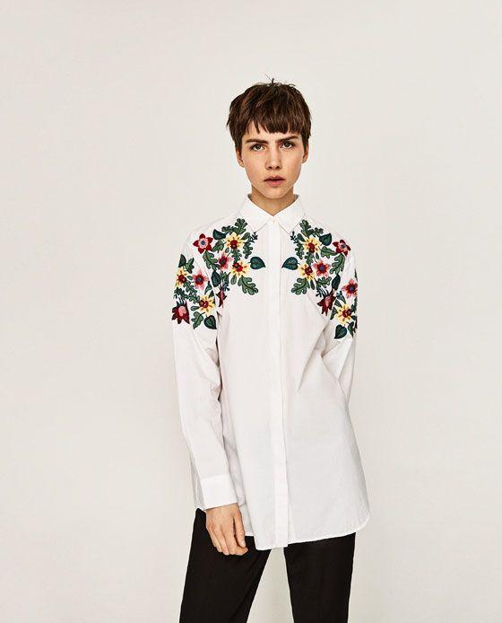 Zara Kobieta Koszula Oversize Z Haftem W Kwiaty Casual Shirt Women Oversized Floral Shirt White Shirt Blouse