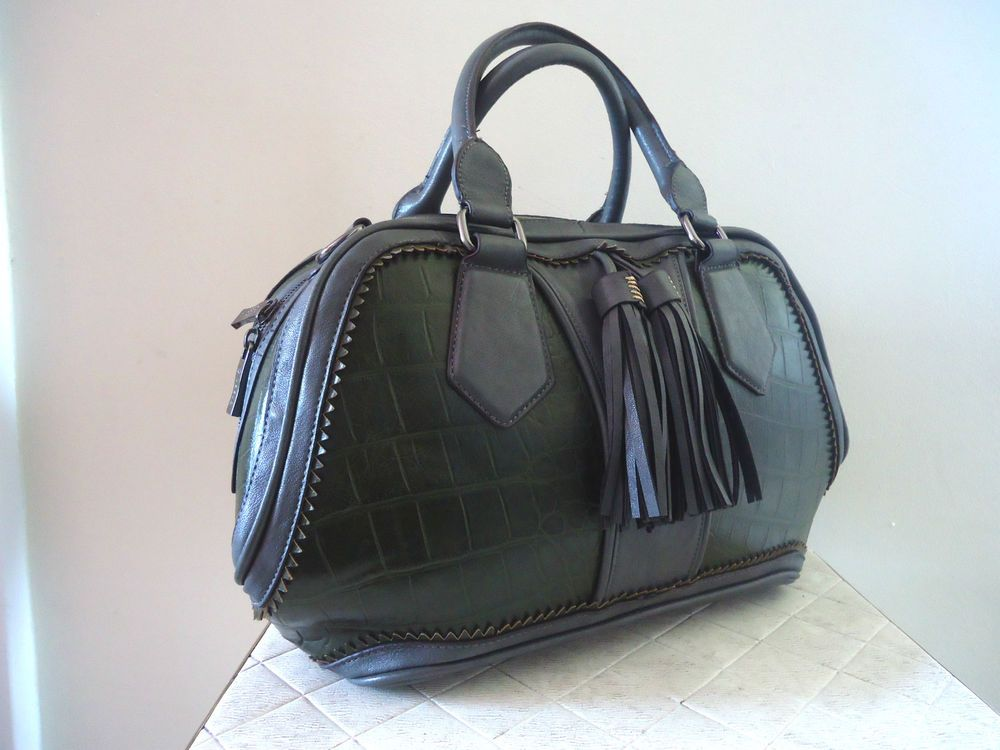 Bessie London Faux Leather Tote Bag Handbag Grab Green Gray Two Handle Dust