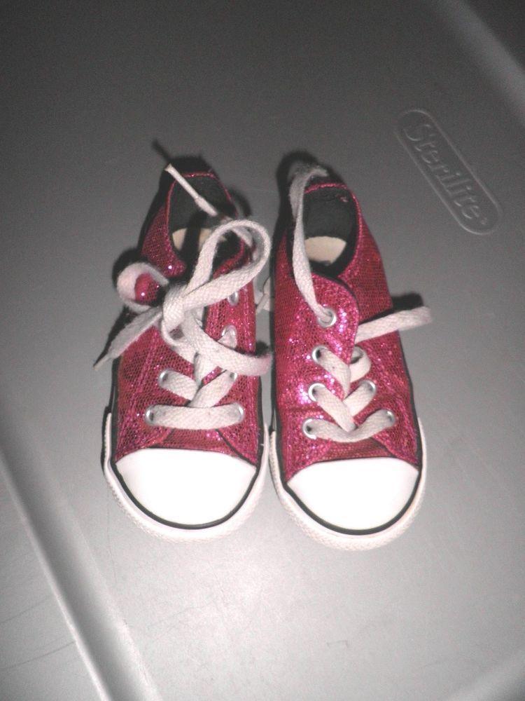2dccaea93b28 Little Girls Pink Glitter Converse All Stars Toddler Size 6  Converse   AllStarLow