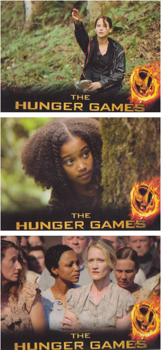 Hunger Games Trading Cards Give us New Images from the Film: Three Finger Salute, Rue, and Mrs. Everdeen at the Reaping