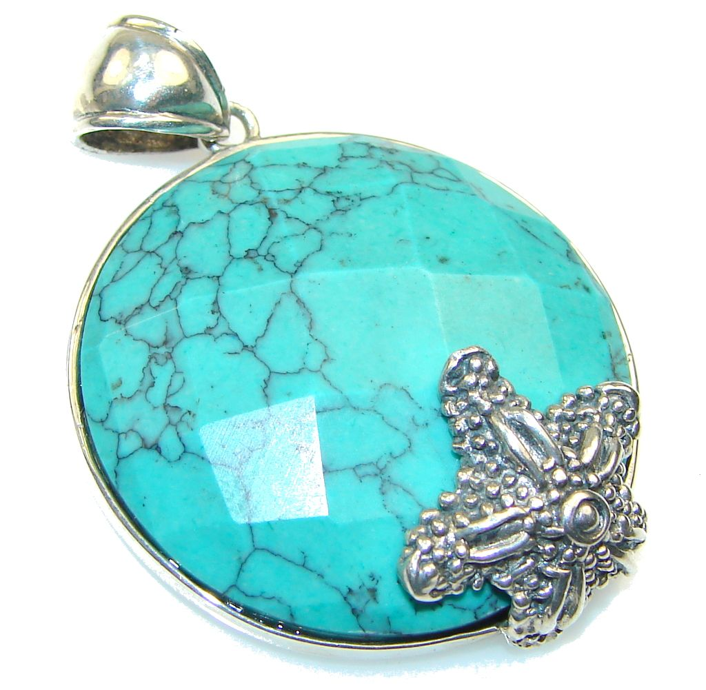 $41.25 Fantastic! Blue Turquoise Sterling Silver Pendant at www.SilverRushStyle.com #pendant #handmade #jewelry #silver #turquoise
