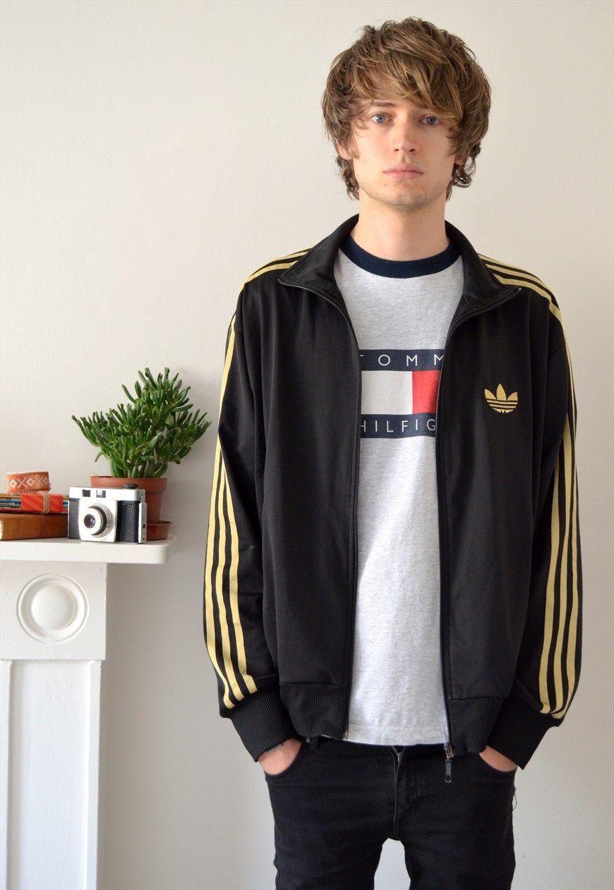 10479fd63142 90s Vintage Adidas Black and Gold Track Jacket