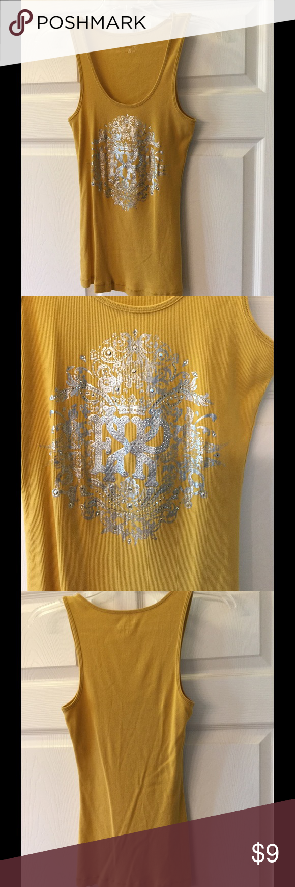 Racerback Tank This is an Express Racerback tank top.  It is a mustard yellow'ish color, with silver accents.  If you have any questions, please ask! Prices are always negotiable! Express Tops Tank Tops