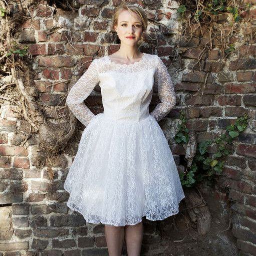 Cute 1950s Short White Lace Vintage Wedding Dress With Long Sleeves Ignore The Face That