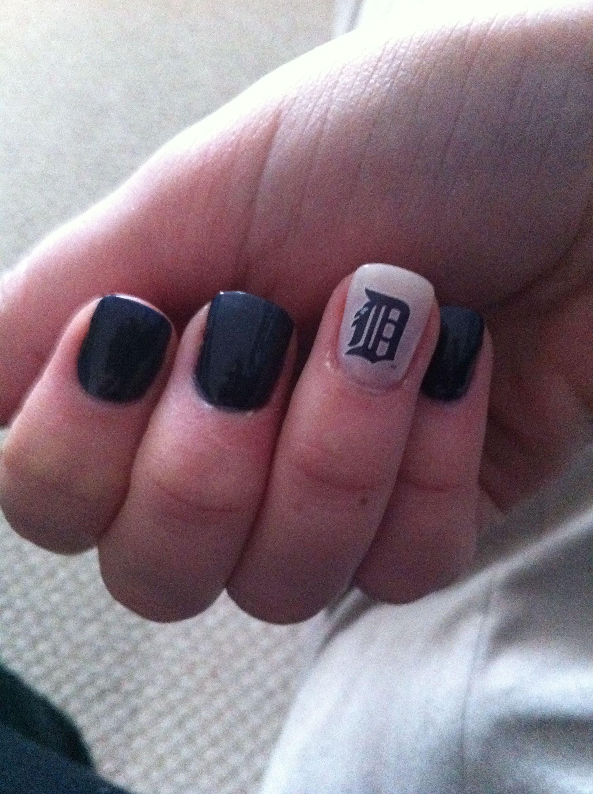 My Detroit Tigers Nail Art! | Smitten with the Mitten | Pinterest ...