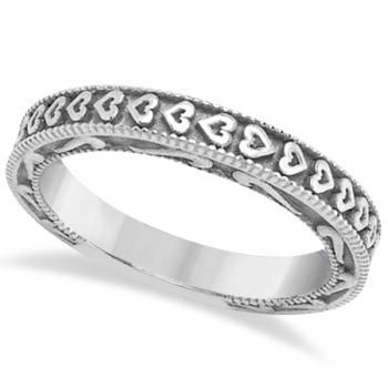 Carved Heart Wedding Ring Ladies Bridal Band Crafted in 14K White