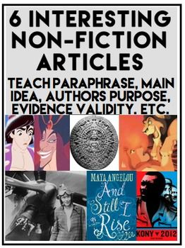 NON-FICTION READING RESPONSE: 6 Fun Comprehension Assignments: Teaching Common Core reading skills is FUN with INTERESTING ARTICLES & VIDEO CLIP ACTIVITIES!  6 NO PREP BUNDLED ACTIVITIES (for $6!!):  Enforce Writing & Reading Literature CCSS through relevant and engaging articles and video clip activities. #readingcomprehensionactivities #engagingela