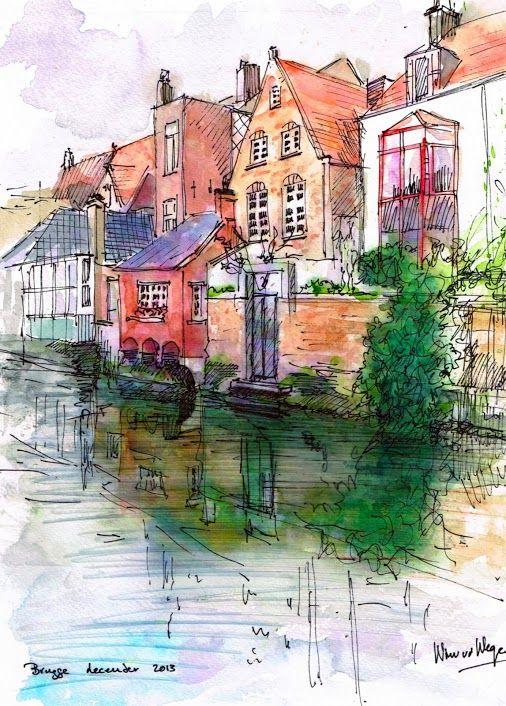 Brugge In Belgium Watercolor And Pen Watercolor Architecture