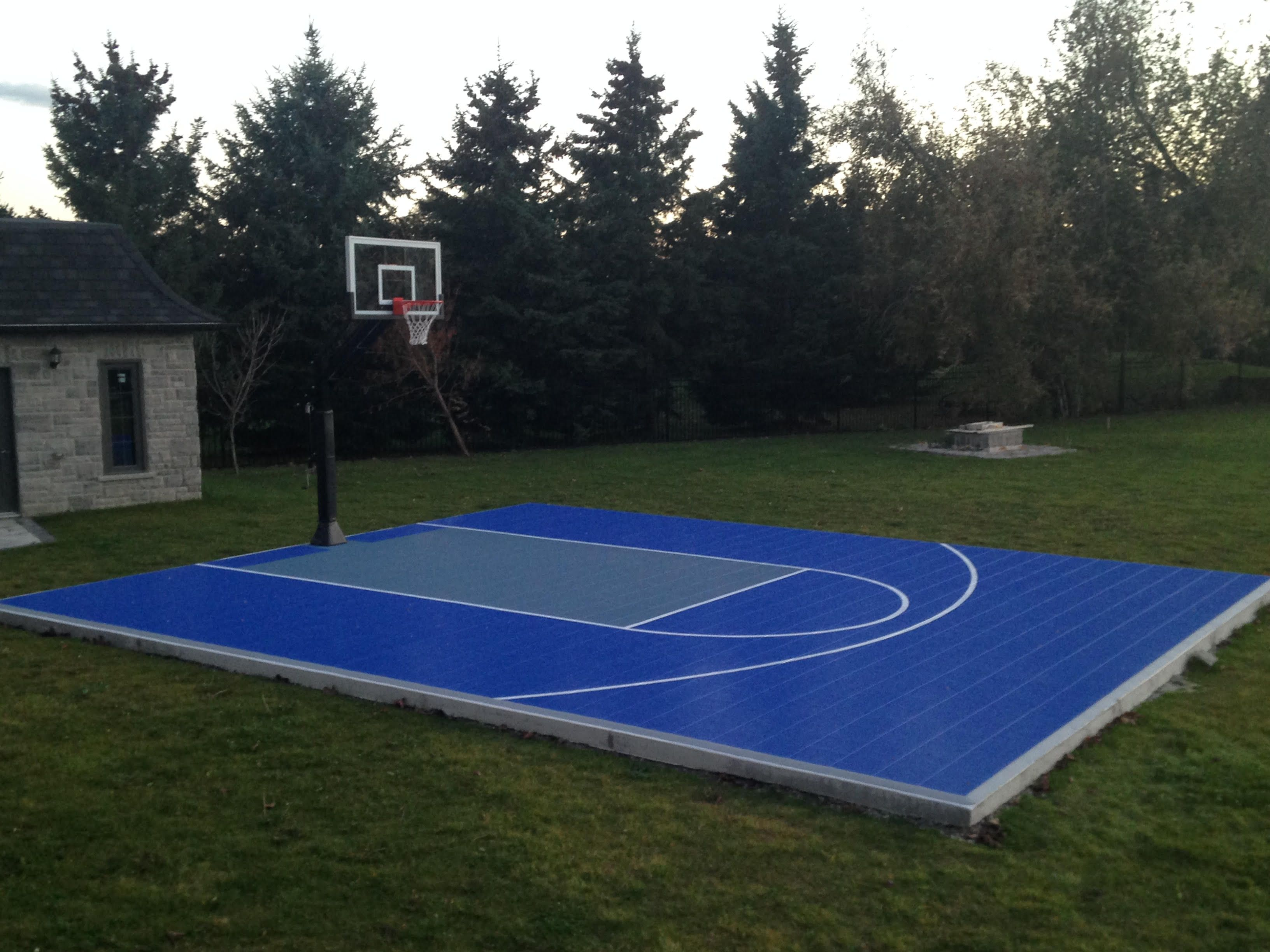 28x34 backyard basketball court waiting for the kids to for Diy sport court