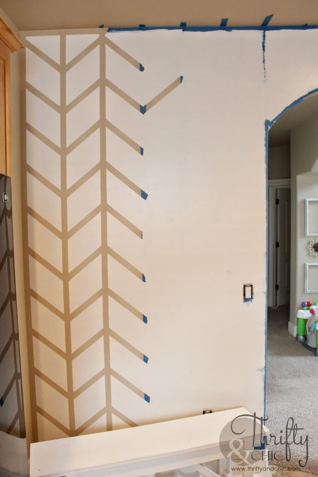 Painted Herringbone Accent Wall With Scotchblue Painter S Tape