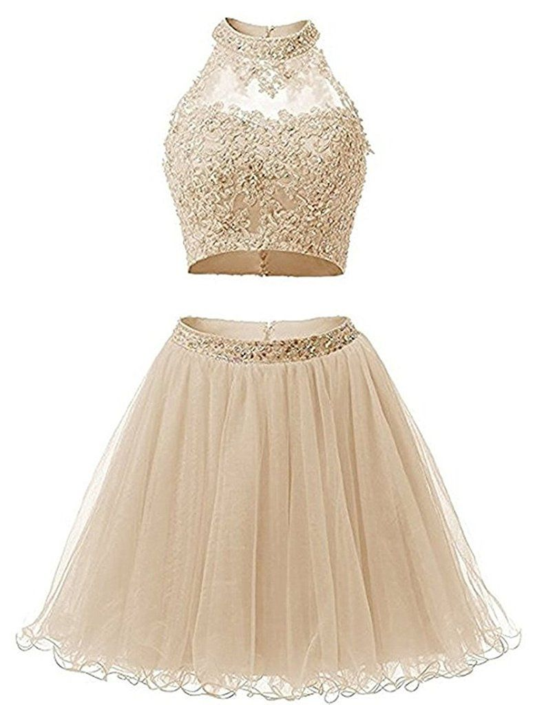 ac54f948810 Two Piece Lace Bodice Short Homecoming Dresses in 2019