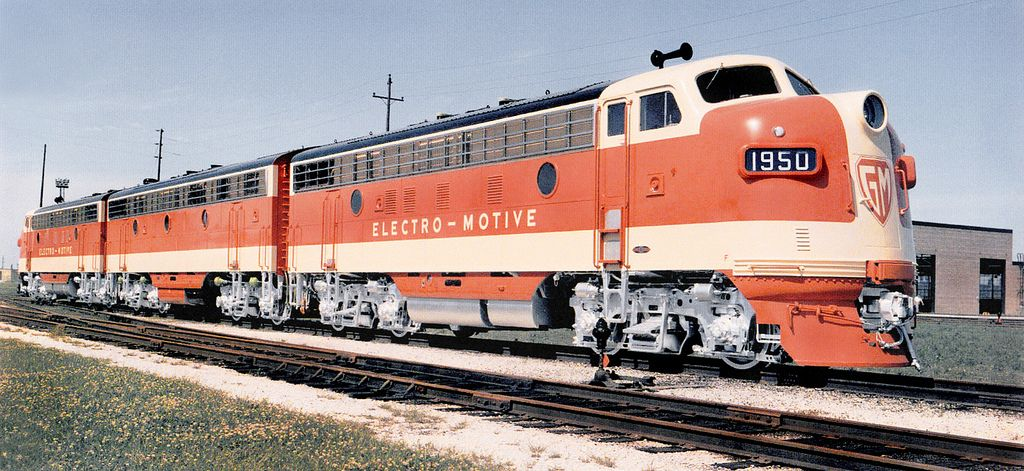 EMD F7 diesel electric locomotive three unit Demonstrator set, 1950 | by alcomike43