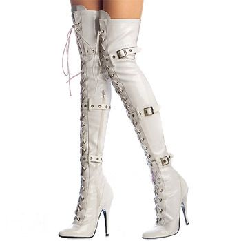 Thigh-high boots | white buckle patent leather thigh high boots ...
