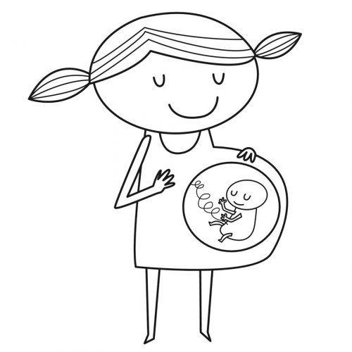 Dibujo para imprimir y pintar de una mamá embarazada | pregnancy ...