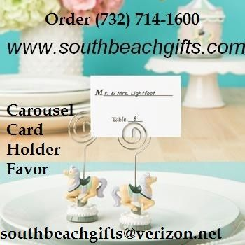 Carousel theme seating card holder favors for your guests to get seated at  your Merry go round amusement park, carnival theme party Carousel! from southbeachgifts.com 732-714-1600 they have over 3,00 party favors and more carousel favors centerpieces and gifts