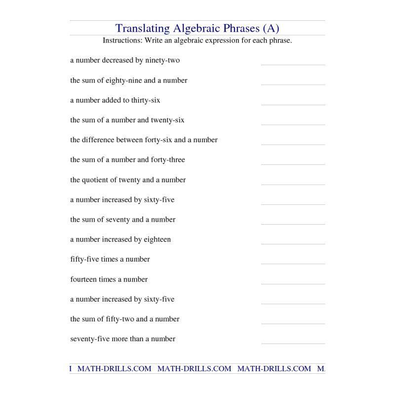 Algebra Worksheet Translating Algebraic Phrases A – 6th Grade Algebraic Expressions Worksheets