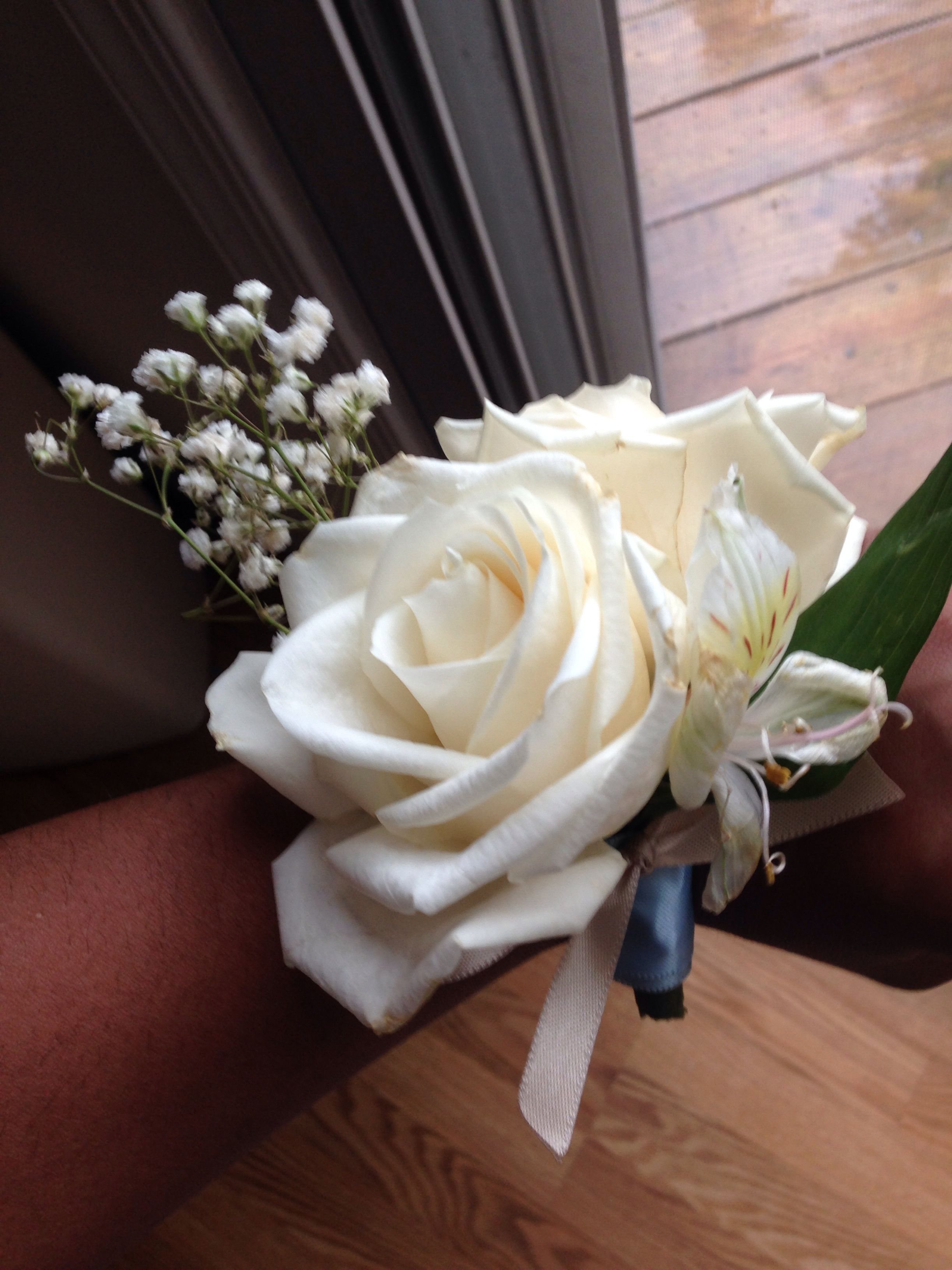 Handmade diy cream rose corsage with babyus breath all you need are