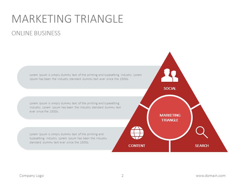 marketing triangle powerpoint slide presentation slidedesign business