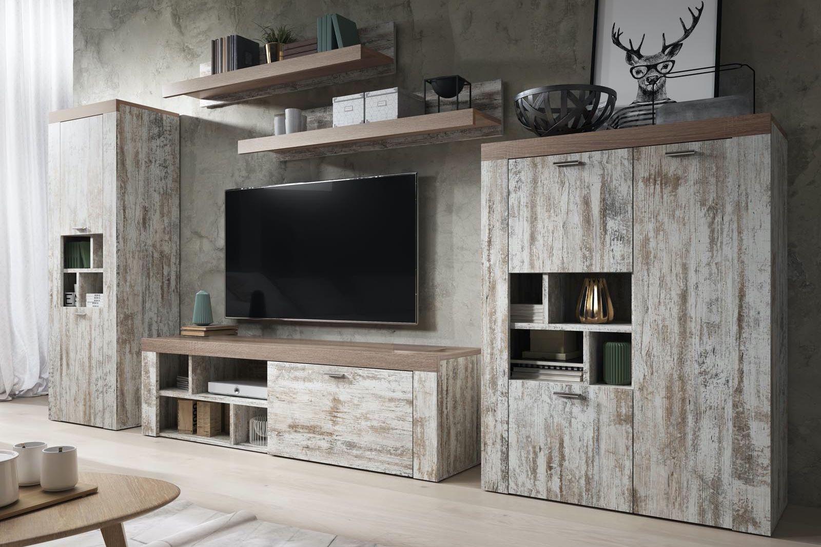Mur Tv Hifi Army Pin Blanc Canyon Sonoma Truffe Mur Tv Mobilier De Salon Meuble Tv Hifi