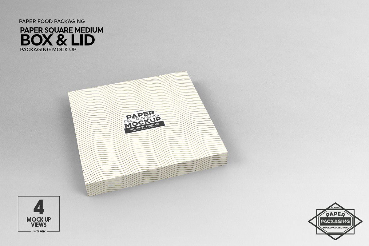 Download Medium Square Paper Box Lid Mockup Free Packaging Mockup Square Paper Paper Box
