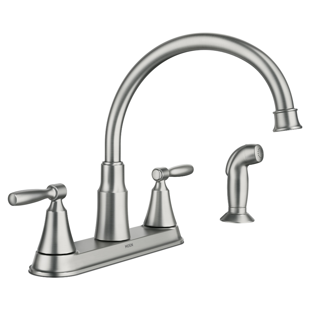 Moen Hutchinson Two Handle Kitchen Faucet Spot Resist Stainless
