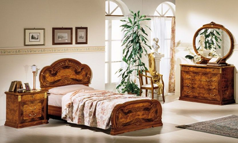 Milady Traditional Walnut Twin Bed Made In Italy Italian Bedroom Sets White Furniture Bedroom Modern King Size Bedroom Sets