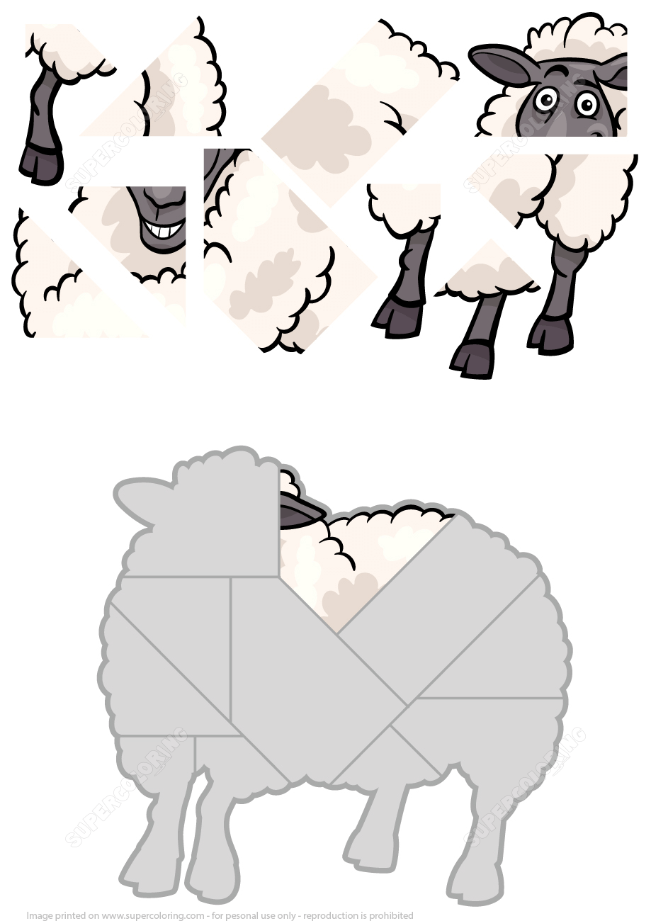 Sheep Jigsaw Puzzle Super Coloring Toddler Learning Activities Activities Animal Puzzles [ 1300 x 919 Pixel ]