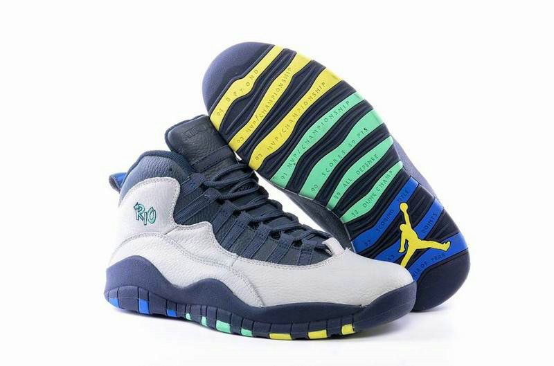 cheap for discount c3b0a 92f63 Authentic Cheap Air Jordan 10 Original New Jordan Retro 10 X Grey Darkblue  Green Yellow Basketball Shoe for